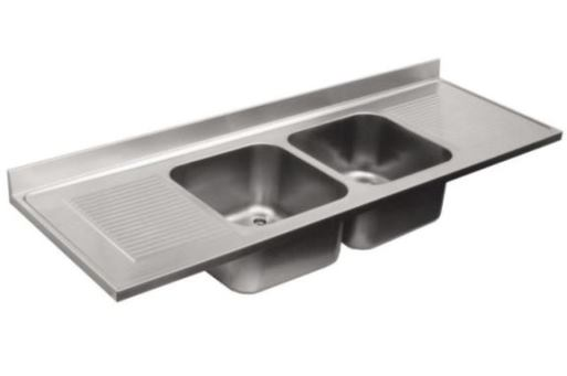 Top sink 2 bowl with 2 drainers