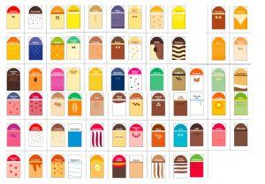 ITP384-FR Conjunto de etiquetas para letreros de alimentos de buen gusto en francés: 68 sabores + 5 neutros