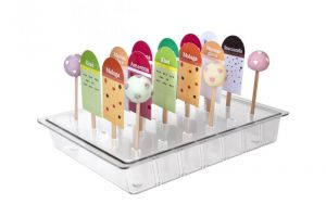 ITP805 Stick: pantalla vertical para soporte de barra de policarbonato y piruleta para vitrinas de helados