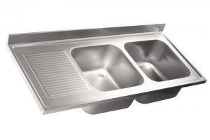 LV7039 Top lavello in acciaio inox AISI 304 dim.1600X700 2V SG SX