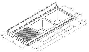 LV7045 Top lavello in acciaio inox AISI 304 dim.1700X700 2V SG SX
