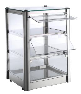 Neutral countertop display cabinet 3 SHELVES in stainless steel sheet Dimensions Cm L37xP37x54 H Model VKB33N