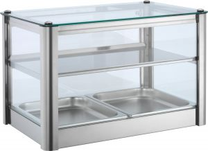 Neutral countertop display cabinet 2 TOPS in stainless steel sheet Dimensions Cm L57xP37x39 H Model VKB52N