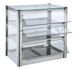 Neutral countertop display cabinet 3 SHELVES in stainless steel sheet Dimensions Cm L57xP37x54 H Model VKB53N