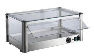 Vetrina espositore da banco Calda 1 PIANO in lamiera di acciaio inox P= 800 W Dimensioni Cm L87xP37x24 H Modello VKB81R
