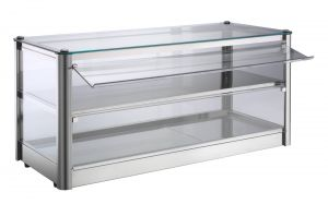 VKB82N Neutral countertop display cabinet 2 SHELVES in stainless steel sheet