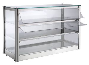 Neutral countertop display cabinet 3 SHELVES in stainless steel sheet Dimensions Cm L87xP37x54 H Model VKB83N