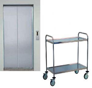 TEC1110 Carrello tecnico ITALIANO in acciaio inox AISI304 2 piani  60x44x95h IDEALE PER PICCOLI ASCENSORI
