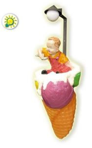SG018A Fiberglassce IceCream Cone with baby illuminated wallmounted